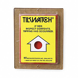 "Tilt Indicator Label, Acrylic, Tiltwatch If Red Inspect Contents Legend, 2-7/8"" Height, 2-7/8"" Width"