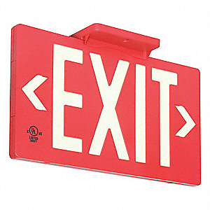 Exit Sign,8-5/8 x 15-7/8In,WHT/R,Exit
