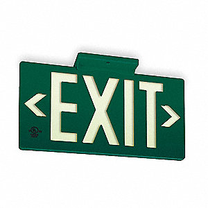 Exit Sign,8-3/4 x 15-3/8In,WHT/GRN,Exit