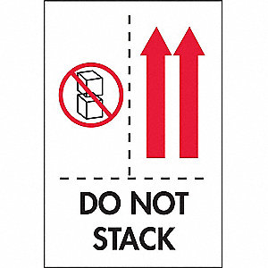 "Shipping Labels, Do Not Stack Legend, Paper, Adhesive Back, 4"" Width, 6"" Height"