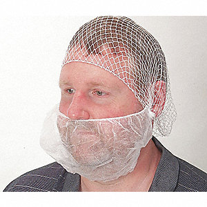 Beard Cover,White,Small,PK100