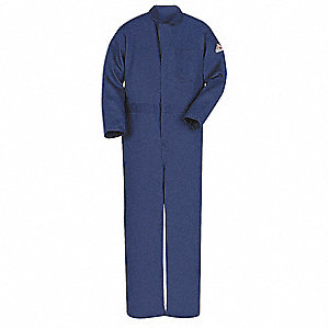 Excel FR , FR Contractor Coverall, Size: L, Color Family: Blues, Closure Type: Zipper