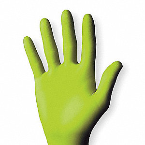 Disposable Gloves,Nitrile,XL,Green,PK100