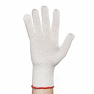 Uncoated Cut Resistant Glove, ANSI/ISEA Cut Level 4, Dyneema® Lining, White, L, EA 1