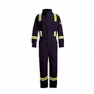 Nomex® IIIA, FR Coverall w/Reflective Trim, Size: 3XL, Color Family: Blues, Closure Type: Zipper