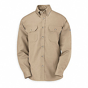 "Khaki Flame-Resistant Collared Shirt, Size: L, Fits Chest Size: 42"" to 44"", 8.6 cal./cm2 ATPV Rating"