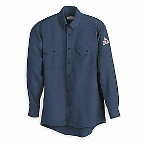 "Navy Flame-Resistant Collared Shirt, Size: L, Fits Chest Size: 42"" to 44"", 8.6 cal./cm2 ATPV Rating"