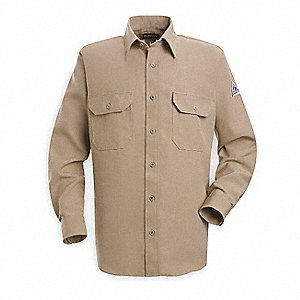 "Tan Flame-Resistant Collared Shirt, Size: S, Fits Chest Size: 34"" to 36"", 4.8 cal./cm2 ATPV Rating"