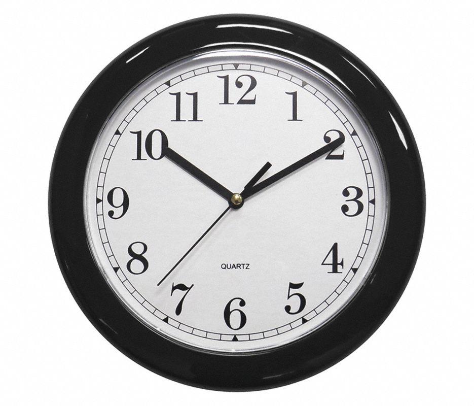 Analog Clock,8-1/2 In Dia,Black