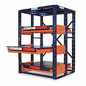 "48"" x 36"" x 72-1/2"" Unassembled Steel High Capacity Roll Out Shelving, Blue"