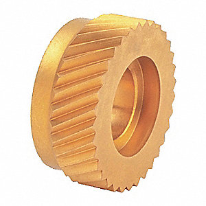 Knurl Wheel,  High Speed Steel, PVD TiN-Coated,  Left-Hand Diagonal,  25 Teeth per Inch,  Beveled
