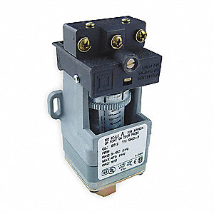 Diaphragm Pressure Switch, Differential: 7.4 to 33.6 psi, Range: 5 to 250 psi, NEMA Rating 1