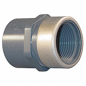 "PVC, Stainless Steel Female Adapter, Socket x FNPT, 2"" Pipe Size"