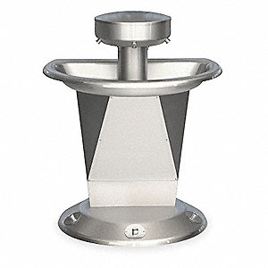 "43-1/2""H 3-Person Shallow Bowl Wash Fountain, Foot Control Hold-Open Air Valve Operation Type"