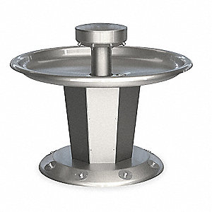 "43""H 8-Person Shallow Bowl Wash Fountain, Foot Control Hold-Open Air Valve Operation Type"