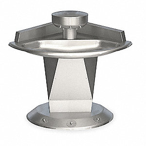 "46""H 3-Person Shallow Bowl Wash Fountain, Foot Control Hold-Open Air Valve Operation Type"