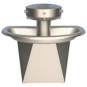 "43-1/2""H 3-Person Shallow Bowl Wash Fountain, Hand Control Metering Air Valve Operation Type"