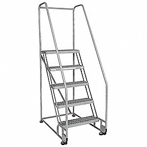 "4-Step Tilt and Roll Ladder, Serrated Step Tread, 70"" Overall Height, 450 lb. Load Capacity"