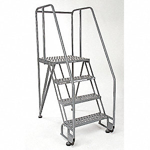 "4-Step Tilt and Roll Ladder, Perforated Step Tread, 70"" Overall Height, 350 lb. Load Capacity"