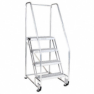 "4-Step Tilt and Roll Ladder, Serrated Step Tread, 70"" Overall Height, 350 lb. Load Capacity"