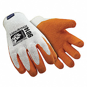 Natural Rubber Latex Needlestick-Resistant Gloves, ANSI/ISEA Cut Level 5 Lining, Orange, White, L, P