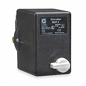 "Air Compressor Pressure Switch; Range: 45 to 160 psi, Port Type: (1) Port, 3/8"" FNPT"