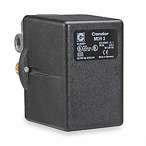 "Air Compressor Pressure Switch; Range: 40 to 360 psi, Port Type: (4) Port, (1) 3/8"" FNPT, (3) 1/4"" F"
