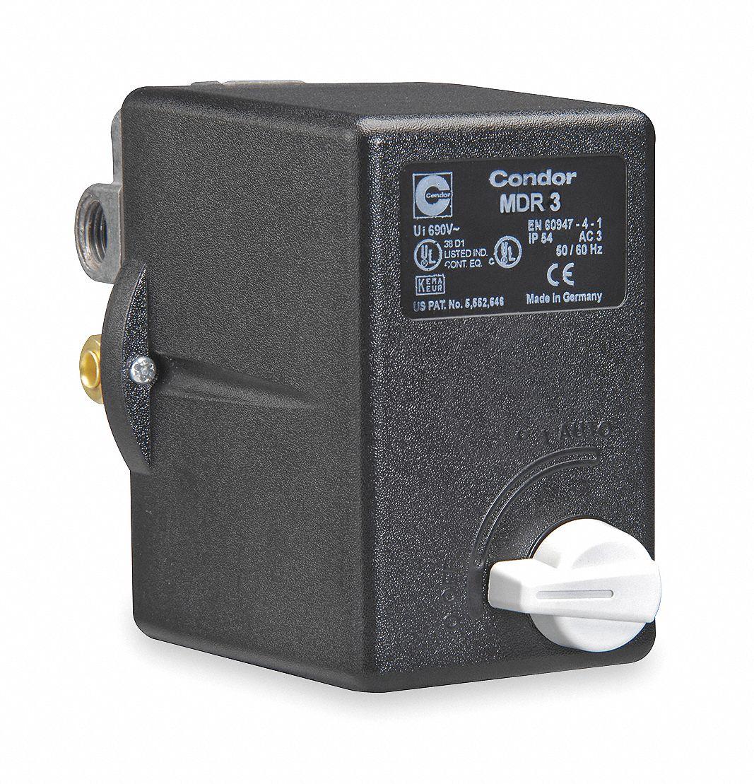 air compressor pressure switch; range 60 to 232 psi, port type (4) port, (1) 3 8\