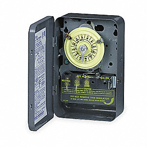 Electromechanical Timer, 125VAC Voltage, 40 Amps, Max. Time Setting: 23 hr.