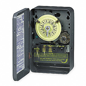 Electromechanical Timer,24-Hr,DPST,40A