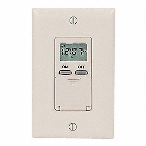120VAC Electronic Wall Switch Timer, Max. On/Off Cycles:14, Ivory