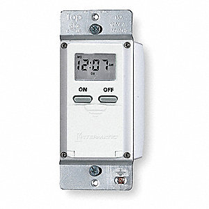120VAC Electronic Wall Switch Timer, Max. On/Off Cycles:14, White
