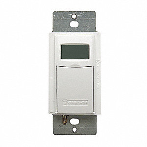 120/277VAC Electronic Wall Switch Timer, Max. On/Off Cycles:40, White