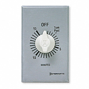 Spring-Wound Timer, Silver, Timing Range:  0 to 15 min., 20 Max. Amps @ 125VAC