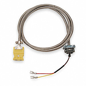 10 ft. Stranded, Nylon K Wire Thermocouple Cable Assemblies with 20 AWG Wire Size, Silver Over Red/Y