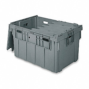 "34""L x 24""W x 19-5/8""H Industrial Grade Polymer Attached Lid Container, Gray"