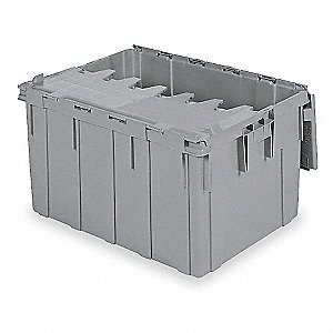 Attached Lid Container,3.8 cu ft,Gray