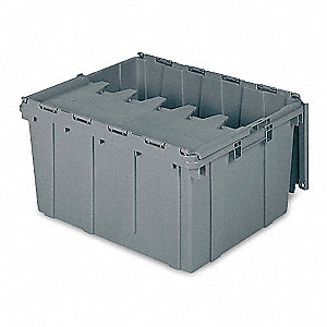 "Attached Lid Container, Gray, 12-1/2""H x 24""L x 19-1/2""W, 1EA"