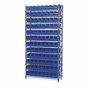 "36"" x 14"" x 74"" Bin Shelving with 2000 lb. Load Capacity, Blue"