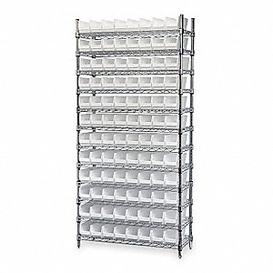"36"" x 18"" x 74"" Bin Shelving with 2000 lb. Load Capacity, White"