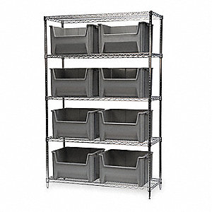 "Steel Wire Bin Shelving with 8 Bins, 48""W x 18""D x 74""H, Load Capacity: 2000 lb., Silver"