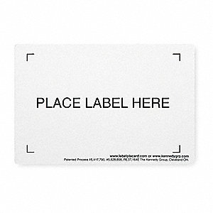 "Industrial Grade Polymer Label Holder, White, 6-1/2""L x 4-1/2""W"
