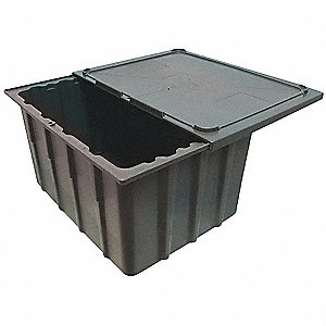 "Property Storage Container, Gray, 23"" Outside Length, 17-1/4"" Outside Width, 8-1/2"" Outside Height"