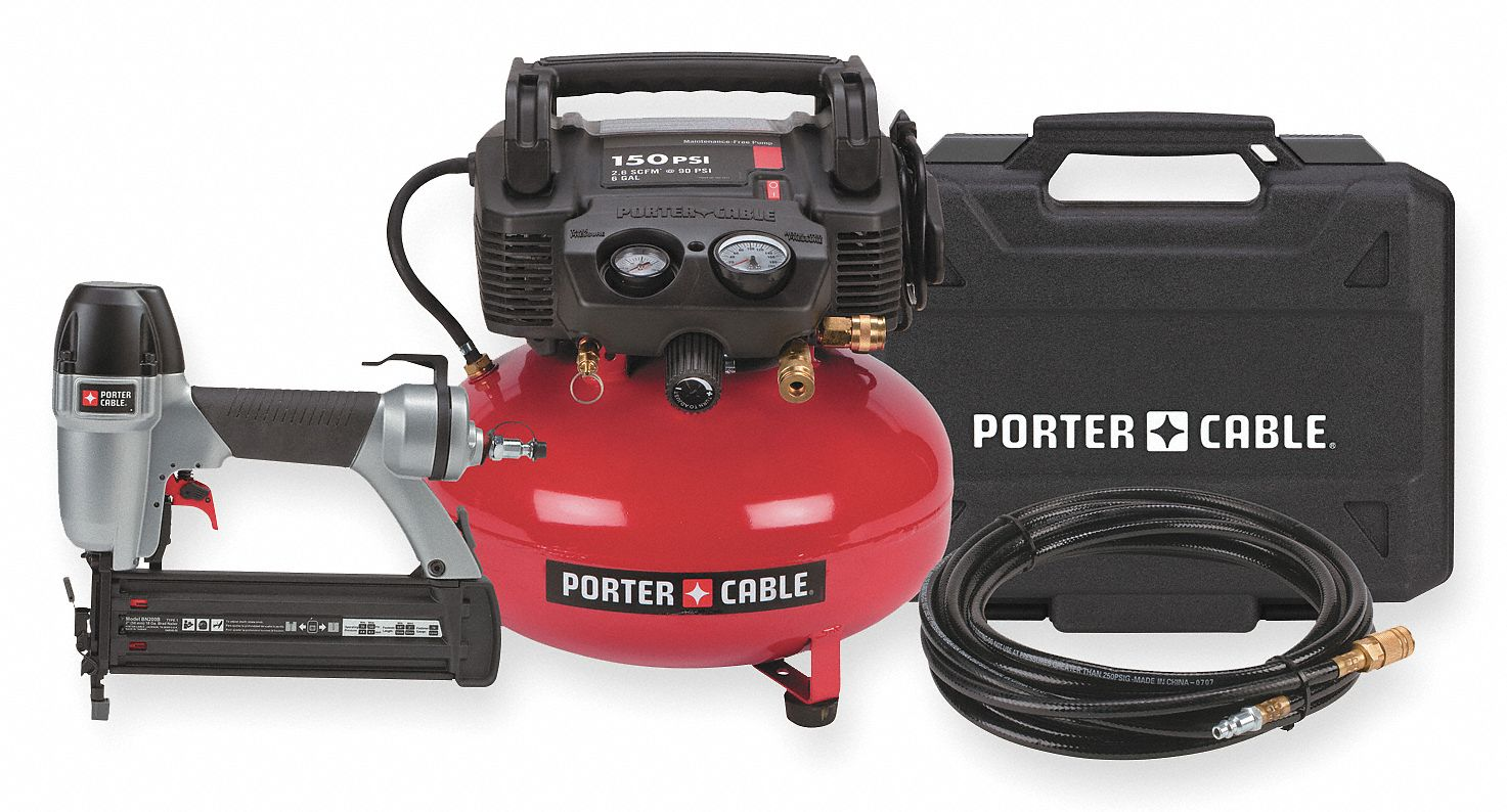 Porter Cable 0 8 Hp 115vac 6 Gal Portable Air Compressor Nailer Combo Kit 150 Psi 3fzd9 Cf6121 Grainger