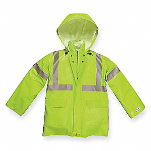 Arc Flash Rain Jacket, PPE Category: 1, High Visibility: Yes, Nomex® PVC, Kevlar®, 4XL, Yellow/Green