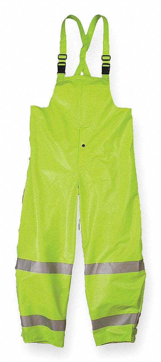 Arc Flash Rain Bib Overall, PPE Category: 1, High Visibility: Yes, Kevlar(R), Nomex(R) PVC, L, Yello