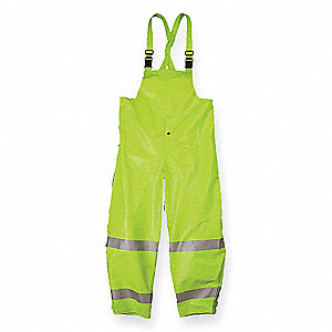 Arc Flash Rain Bib Overall, PPE Category: 1, High Visibility: Yes, Nomex® PVC, Kevlar®, S, Yellow\Gr