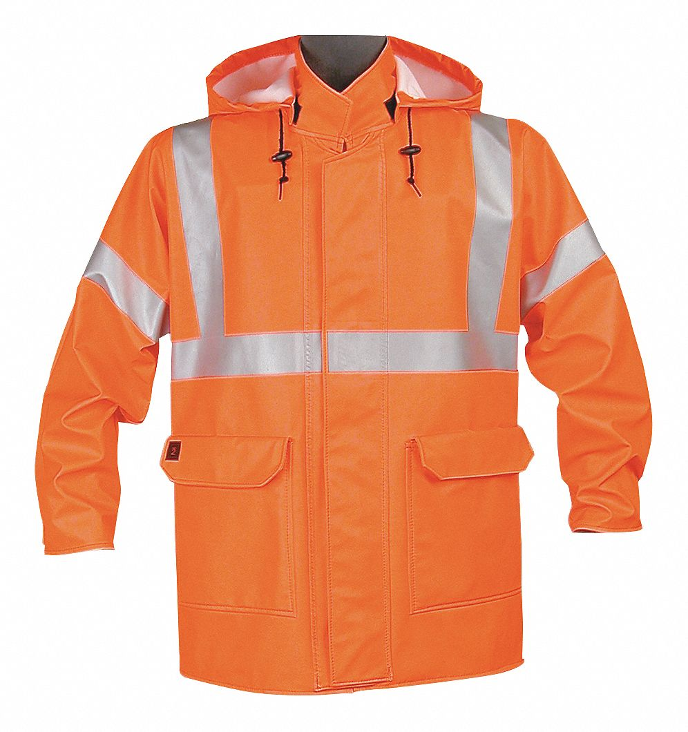 Arc Flash Rain Jacket, PPE Category: 2, High Visibility: Yes, EXCEL FR(R) Cotton, XL, Orange