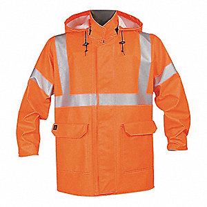 Arc Flash Rain Jacket, PPE Category: 2, High Visibility: Yes, EXCEL FR® Cotton, M, Orange