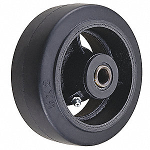 "6"" Caster Wheel, 500 lb. Load Rating, Wheel Width 2"", Rubber, Fits Axle Dia. 1/2"""